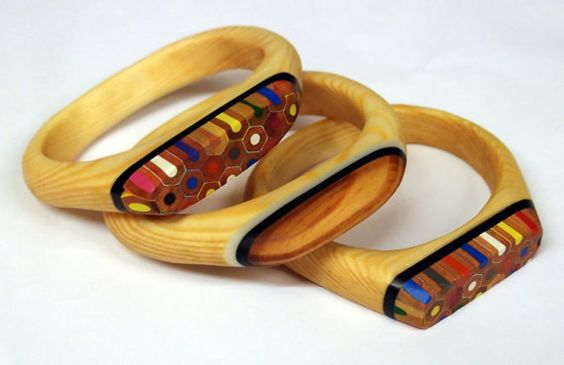 Recycled wooden bracelets with coloured pencil by OhBotherDesign, £30.00