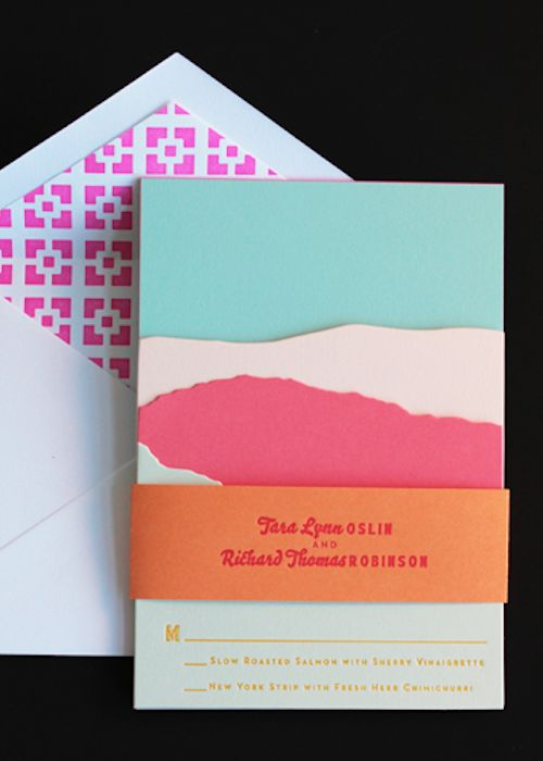 Neon Letterpress Invitations