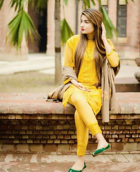 Pakistani Kurta Designs For Ladies Yellow Khaddar winter Kurta