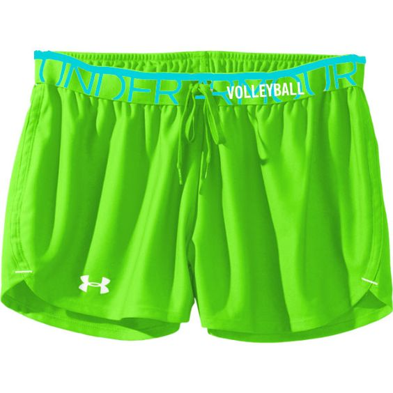 "Under Armour Play Up Shorts - Neon Green - 3"" Inseam with the word Volleyball on the waist band! Also comes in neon pink."