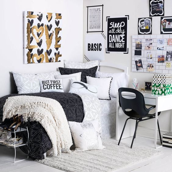 22 Aesthetically Pleasing Ways To Make Your Bedroom Look More Organized College Apartment Decor Apartment Decor Room