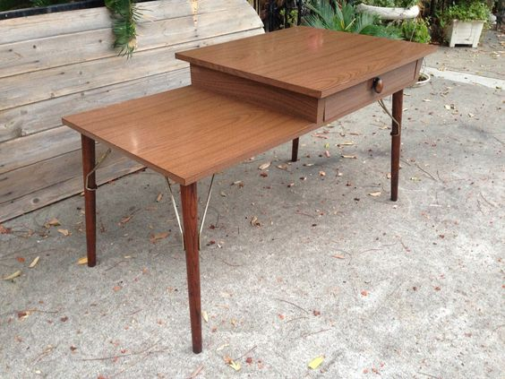 Small mid century double sided desk