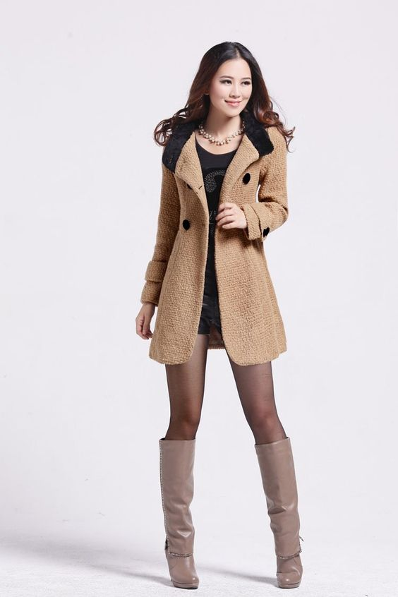 Women Wool Coat Winter Outerwear hooded Jacket Ladies Thick