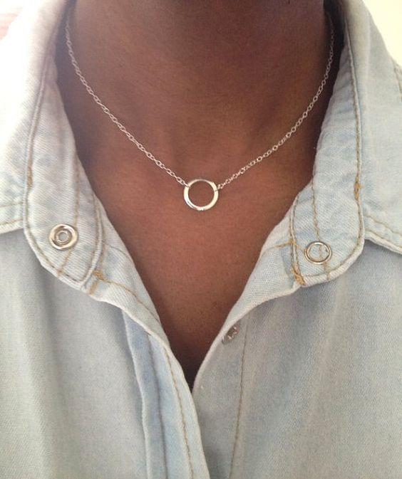 Gargantilla plata collar plata eternidad collar círculo collar círculo de plata martillado collar Reino Unido tienda ahora ajustable: