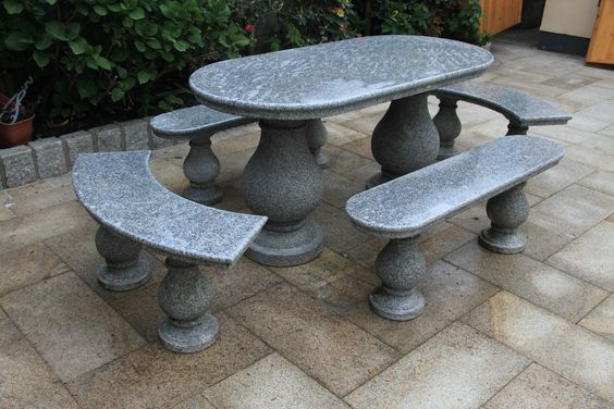 Grand Patio Suite made of Natural Silver Grey Granite. Set has 1.5m Table, 2 Straight & 2 Curved Benches.