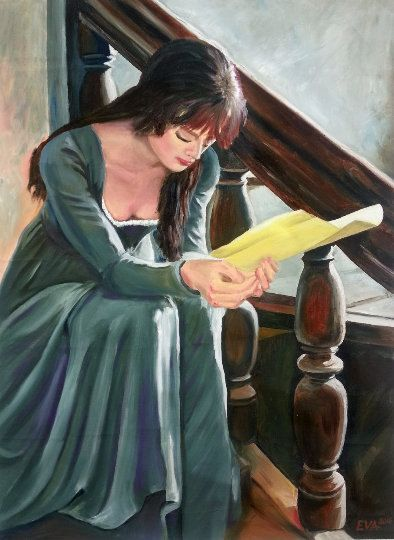 Original Oil Painting - Figurative Romantic - Realistic - Woman Female - Love Letter - Portrait Contemporary Canvas Beautiful Love Painting by ArtShopEva on Etsy
