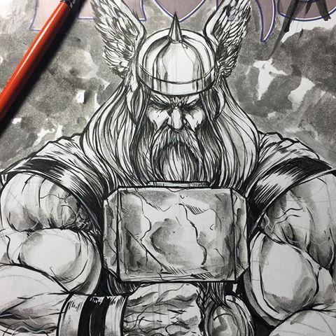 My Take Of The Mighty Thor Need More Viking Thor Themightythor Theavenger Thethundergod Odinson Forodinforasgard Thor Artwork Thor Tattoo Thor Art