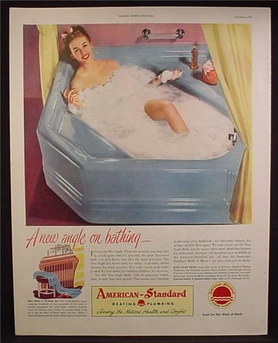 american standard 1960 blue bathtub | ... American-Standard Plumbing, Blue Corner Angle Bathtub, American