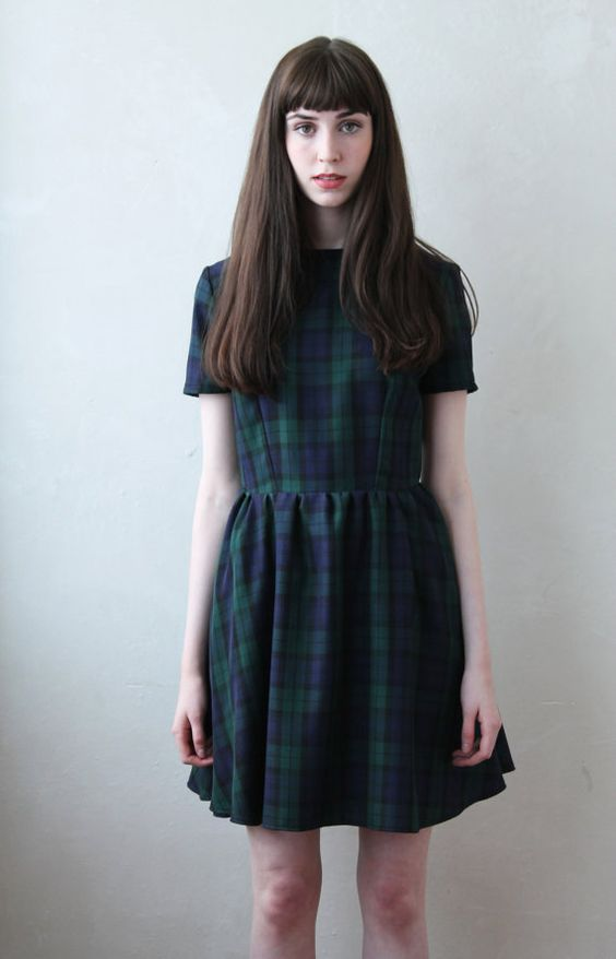 Olivia Tartan Babydoll Smock with Bobble Collar by moddolly