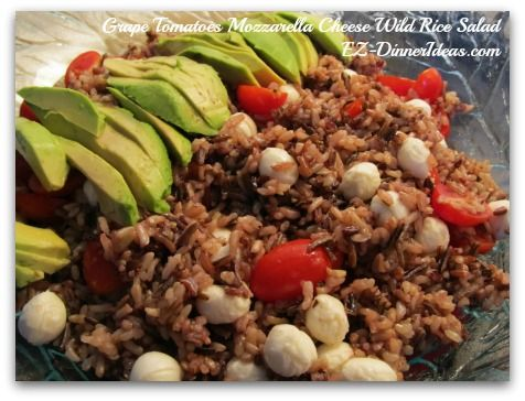 Grape Tomatoes Mozzarella Cheese Wild Rice Salad, a very healthy and filling side dish great for cook out or snack at work.