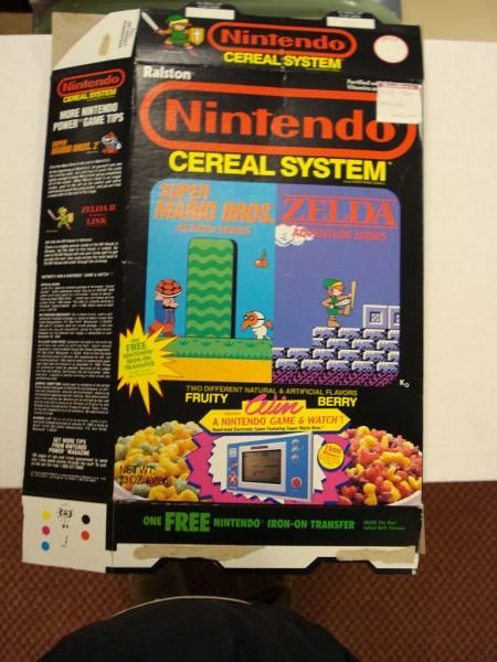 Nintendo Cereal Box Cover: Includes Many Essential Vitamins