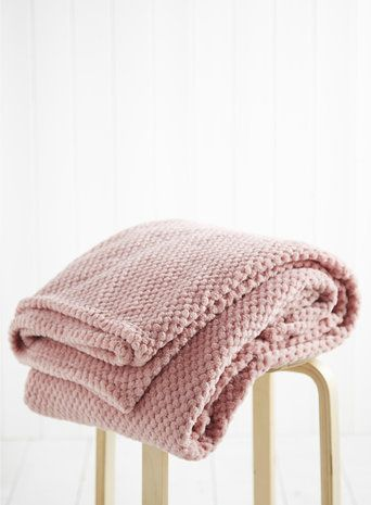 Rose Pink Waffle Fleece Throw - throws & bedspreads - Home, Lighting & Furniture - BHS: