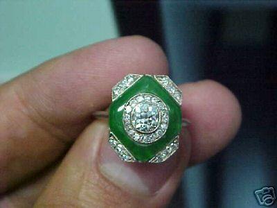 Art Deco Platinum, Jade, Diamond Ring