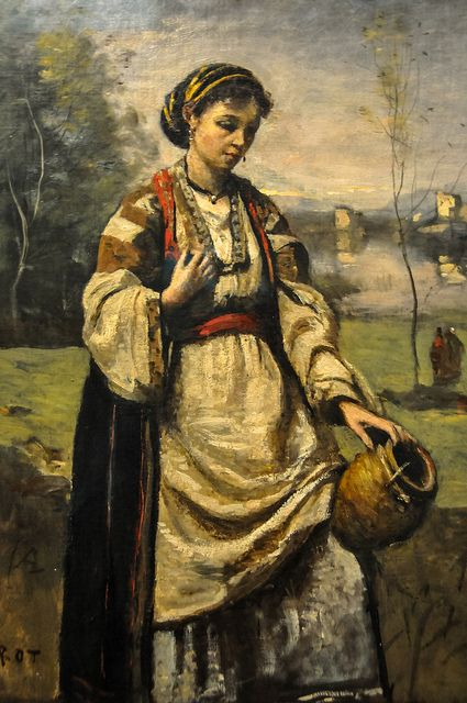 fine art with gypsy  | -Camille Corot - Gypsy Girl at a Fountain, 1870 at the Museum of Art ...: