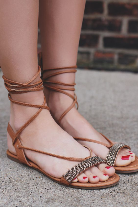 Lace Up Beaded Strap Snake Skin Detail Sandal – UOIOnline.com: Women's Clothing Boutique