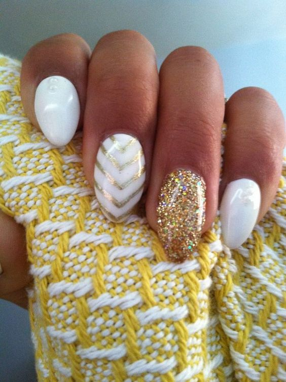 Gold and White Strips Almond Nails.