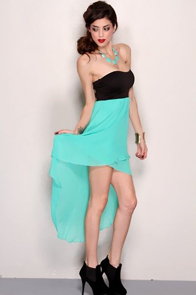 Mint Black Strapless Sweetheart Tow Tone High Low Hem Sexy Party ...