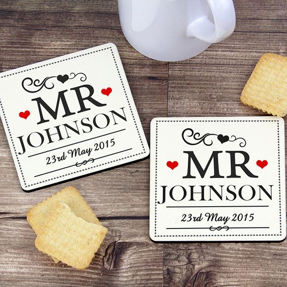 Personalised Mr Coaster Set Wedding Gift For Guys Olive And Finch