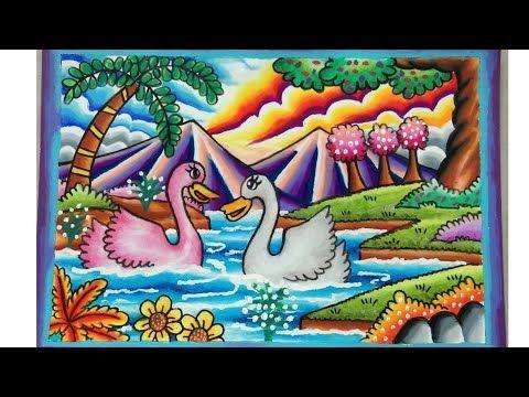Cara Menggambar Dan Mewarnai Pemandangan Youtube Gambar Flora Dan Fauna Seni Krayon Pelajaran Seni