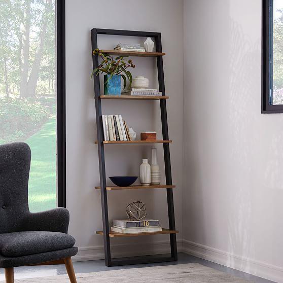 Small Corner Shelf Tall Narrow Storage Unit Shelving 5 Tier Black Espresso NEW