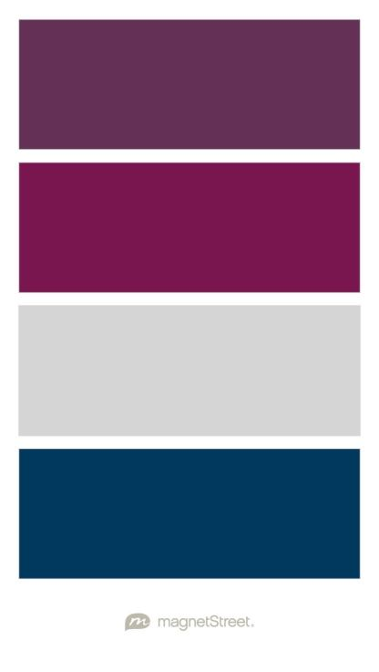 Eggplant sangria silver and navy wedding color palette Navy purple color