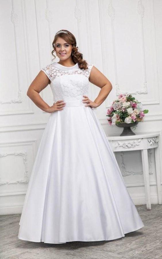 Голубое свадебное платье на полных