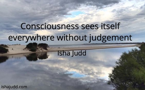 Consciousness sees itself everywhere without judgement. Isha Judd. Quotes