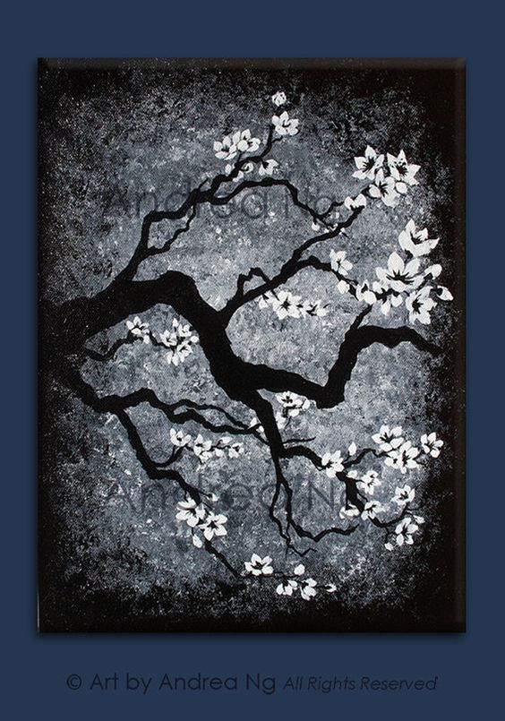 Distant memories black and white cherry blossom for Acrylic painting on black background
