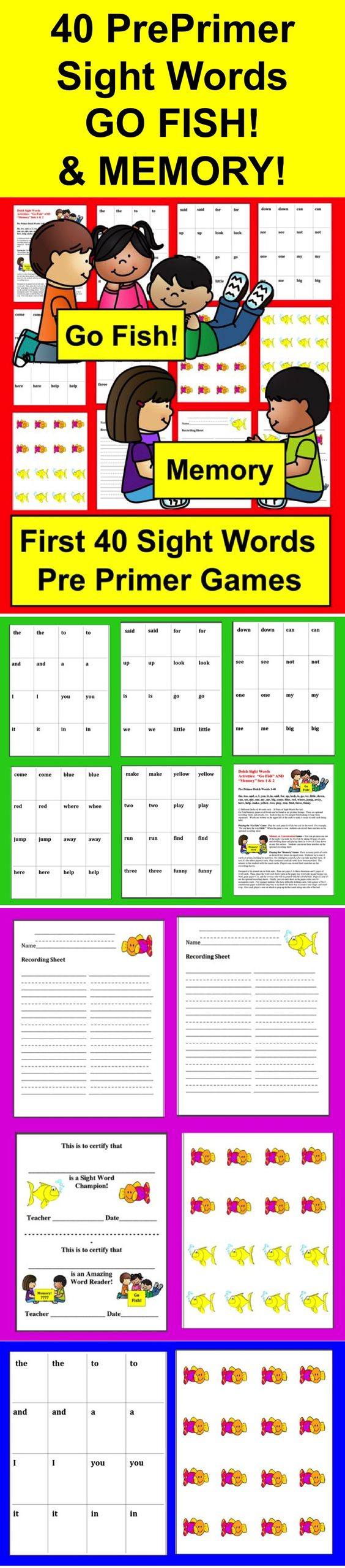 Sight words go fish pre primer play run dolch sight for How do you play go fish card game