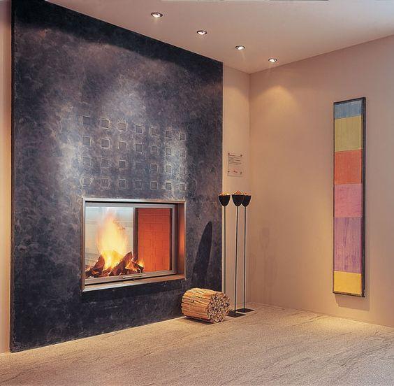chemin e en ma onnerie avec peinture effet bleue foyer ruegg saphir tunnel living. Black Bedroom Furniture Sets. Home Design Ideas