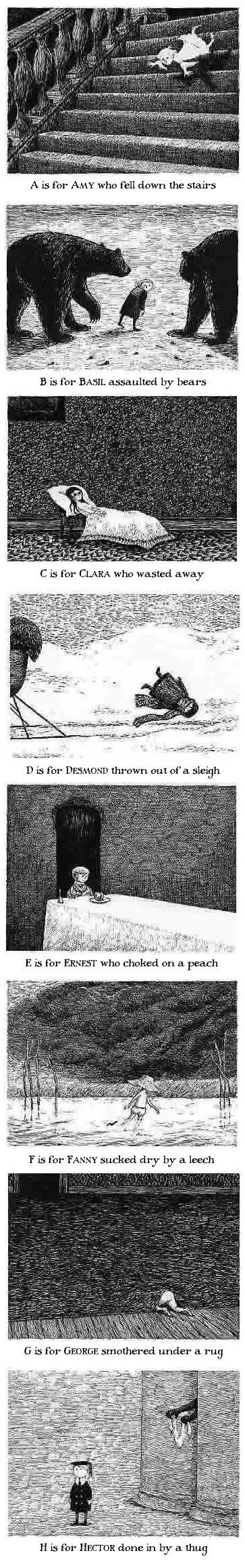 Edward Gorey The Gashlycrumb Tinies. This has echoes of The Rakes Song by The Decemberists.: