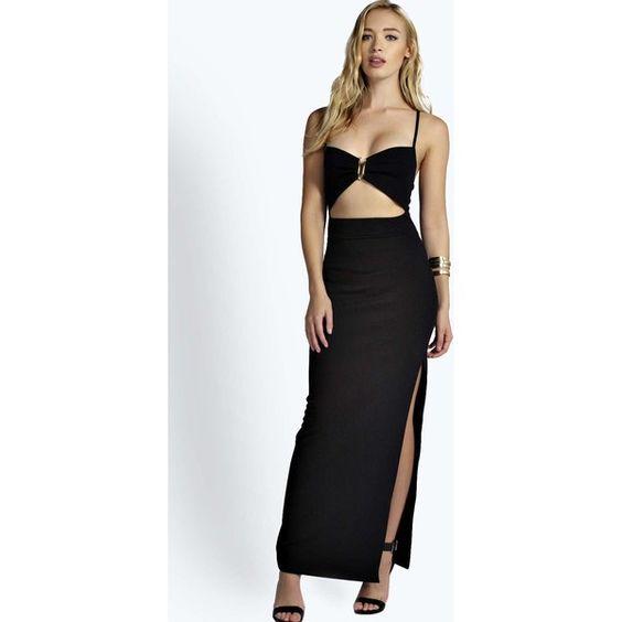 Boohoo Tina Cutout Waist Maxi Dress ($16) ❤ liked on Polyvore