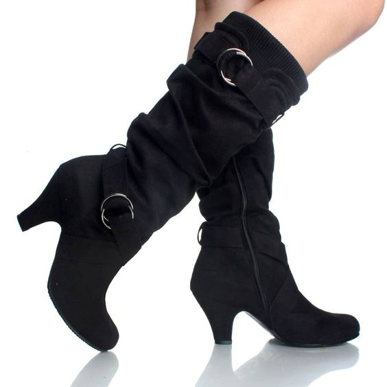 Black Suede Buckle Slouch Knit Chunky Kitten Heel Fashion Womens