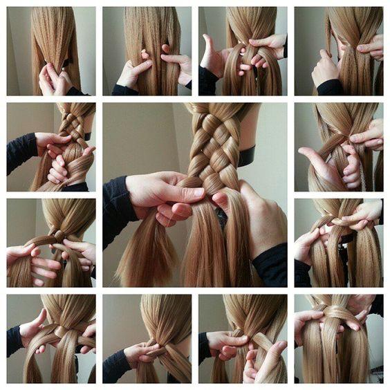 Comment faire une tresse à 4 mèches.  How to do 4 strand braid