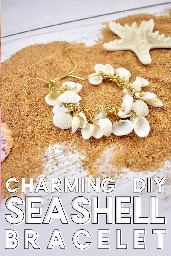 Charming DIY Seashell Bracelet. Love collecting seashells? Learn how to make this DIY seashell bracelet. It's a fun charm bracelet. It's super simple and the perfect jewelry accessory for beach days or beach weddings and a great way to use those collected shells!  #DIY #DIYjewelry #bracelet #charmbracelet