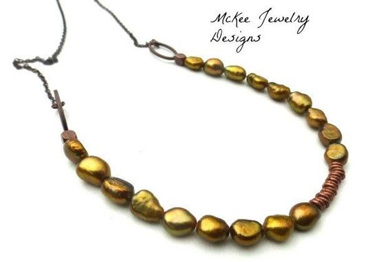 Goldnessa necklace. Pearl and copper necklace. Pearl and metal jewelry, handmade, Jewellery