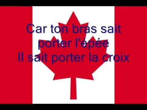 O Canada en français with lyrics!  Hymne national du Canada en Français