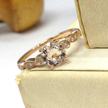 Morganite Engagement Ring 14K Rose Gold!Diamond Wedding Bridal Ring,Art Deco Antique,6.5mm Round Cut Pink Morganite,Can make matching band