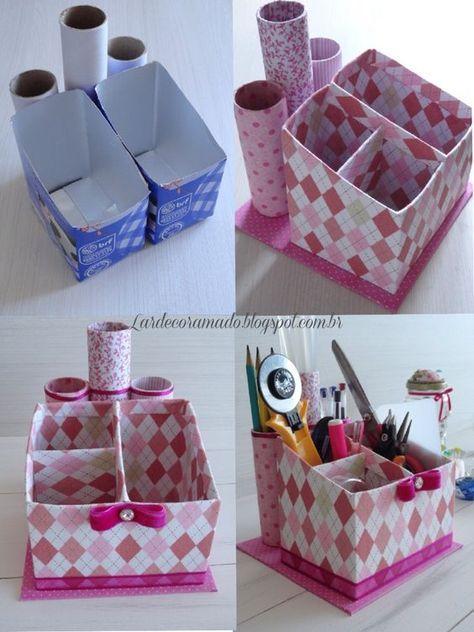 Organizador para escrivaninha feito com caixas de leite, rolos de papel de vários formatos e tecido.