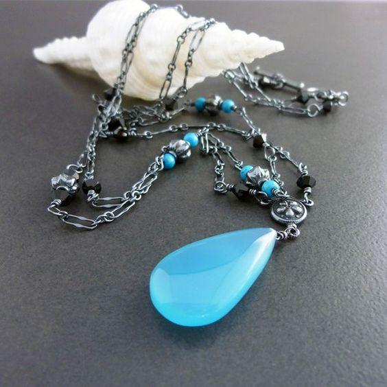 Blue Lagoon, Chalcedony Tourquoise Handmade Oxidized Necklace
