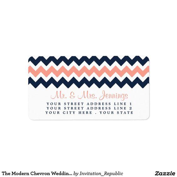 The Modern Chevron Wedding Collection- Pink & Navy Address Label