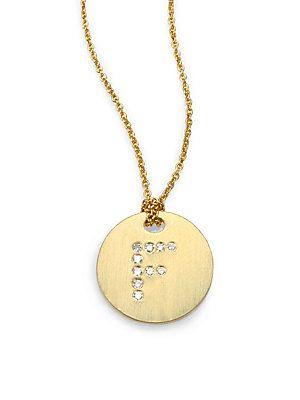 Roberto Coin Tiny Treasures Diamond & 18K Yellow Gold Initial Pend