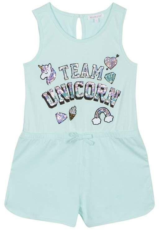 Bluezoo Kids Girls/' Light Blue Unicorn Applique Hoodie