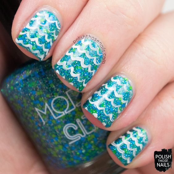 Model City Polish - Cool Waters alphawham inspired nail art  #coolwaters, #glitter, #teal, #waves, #nails, #nailpolish, #indiepolish, #modelcitypolish, #polishthosenails, #nailart