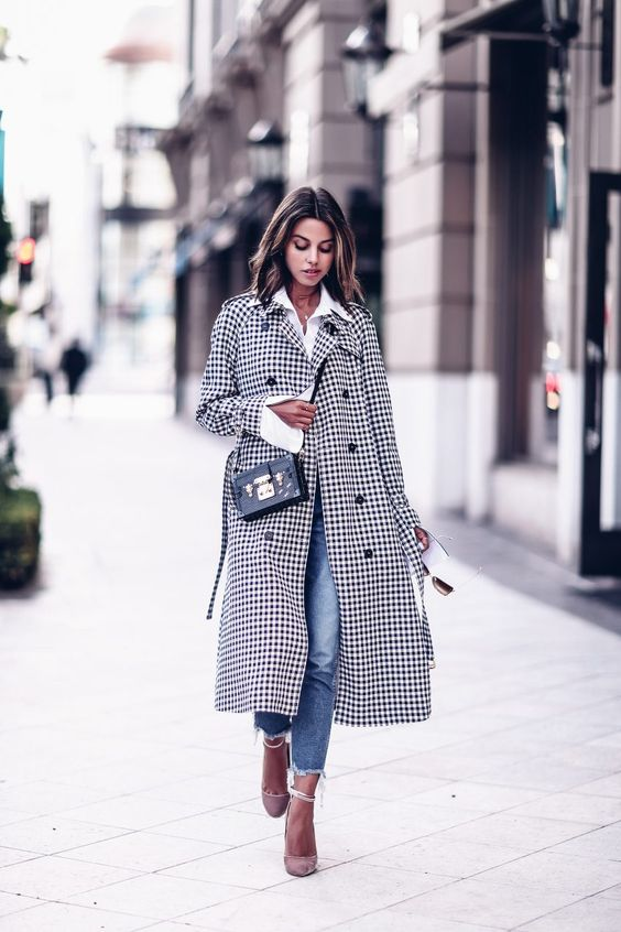 Plaid trench coat + pink suede pumps: