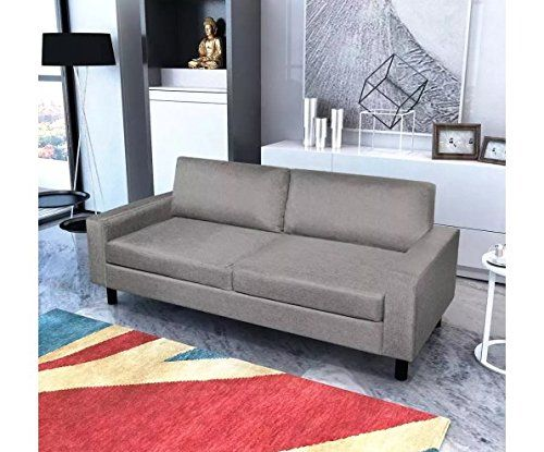 2 Seater Sofa Light Gray 150 X 87 X 81 Cm Couch Wood Furniture Skb Family Furniture Seater Sofa Couch