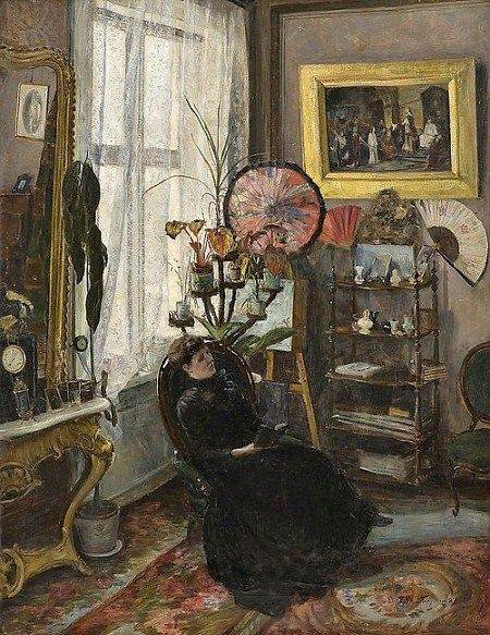 Sitting room decorated in the Aesthetic Movement style. Oil painting by Thorvald…: