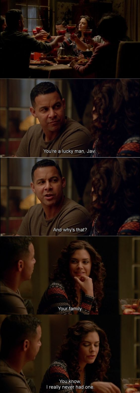 """""""You're a lucky man, Javi. Your family. I really never had one"""" - Sonia and Esposito #Castle"""