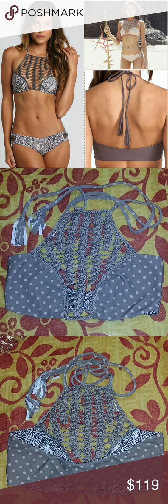 New acacia puka panama crochet bikini top swimwear Brand new without tag & still in original manufacturer's plastic. Panama crochet bikini top in puka brown polka dot print by acacia swimwear. Petiti XS. Rare piece in this pattern. From the 2015 Tauhani collection. Cut the tag but never wore it. No trade please. The price is firm. Price reflects high percentage posh commission fees acacia swimwear Swim Bikinis