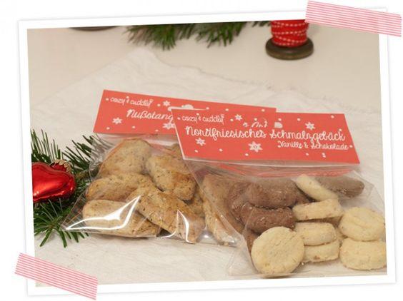 Kekstüte mit leckerem Schmalzgebäck und Nußstangen, Kekstüte mit Print-Vorlage zum audrucken und nachbasteln